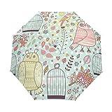 DEZIRO - Paraguas de 3 Pliegues para Exteriores con diseño de búhos y Jaula de pájaros, Resistente al Viento y al Agua