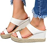 Hosamtel Wedges Shoes for Women Sandals,2020 Summer Open Toe Breathable Beach Sandals Slip-On Straw Casual Wedges Shoes White