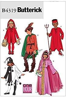 Butterick B4319 Boy's and Girl's Devil, Jester, Princess, Robin Hood, and Little Red Riding Hood Kid's Halloween Costume Sewing Patterns, S-XL