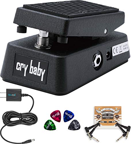 Dunlop CBM95 Cry Baby Mini Wah Pedal Bundle with Blucoil Slim 9V 670ma Power Supply AC Adapter, 2-Pack of Pedal Patch Cables, and 4-Pack of Celluloid Guitar Picks