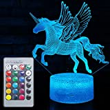 3D Unicorn Lamp LED Optical Illusion Lamps Light with Smart Touch&Remote Controller 16 RGB Colors Bday Xmas Party Gifts for Girls Kids Home Decor Bedroom Desk Decorations (Unicorn Fly(Remote))