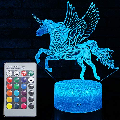 Unicorn Night Light: Unicorn Gifts for Women: Led Optical Illusion 3D Effect Unicorn Lights Lamp for Girls Bedroom Decoration with Remote Control | 16 Colors Unicorn Toys Kids Baby Birthday Xmas Gift