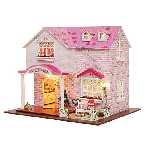 XZJJZ Villa Rosa LED Light Princess Schlafzimmer Hut Modell DIY Handgefertigte Holzpuppenhaus inklusive Aller Möbel kreative Geschenke DIY Fertigkeit-Geschenk (Size : Without dust Cover)