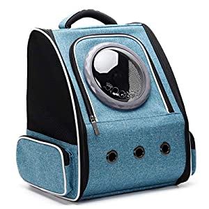 Cat Carrier Backpack Bubble, Space Capsule Pet Carrier Backpack for Small Dog and Puppy, Dog Backpack Carrier for Travel and Hiking, Airline Approved (Blue)