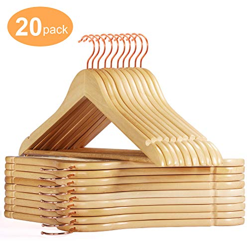Smartor Wooden Hangers 20 Pack Wood Coat Hangers Rose Gold Hook Heavy Duty Clothing Hanger Natural Smooth Finish Premium Wood Hangers for Closet Clothes Suit Natural