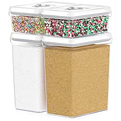 DW�LLZA KITCHEN Large Airtight Food Storage Containers - Bulk Food Pantry & Kitchen Storage Containers for Sugar, Flour and Baking Supplies - 4 PC Set, Clear Plastic BPA-Free, Keeps Fresh & Dry