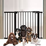 Extensible Barrera Seguridad Sin Taladrar Valla de para Mascotas Barandilla de Seguridad para Niños Auto Close Vallas para Perros Adecuado para Perros Gatos Pasillos(110-117cm Negro