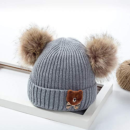Sombrero para niños Sombrero de Lana Bola Doble pompón pequeño Oso de Dibujos Animados Sombrero de Punto para bebé Gris 5 Meses -3 años