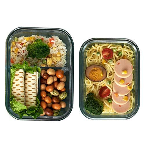 Glas Voorraaddoos met deksel-Bento box for de maaltijd-magnetron oven, koelkast, vriezer, vaatwasser, oven safe-BPA-vrij eenvoudig snap, afdichting en lekvrije deksel (Color : Three-1L+630ml)