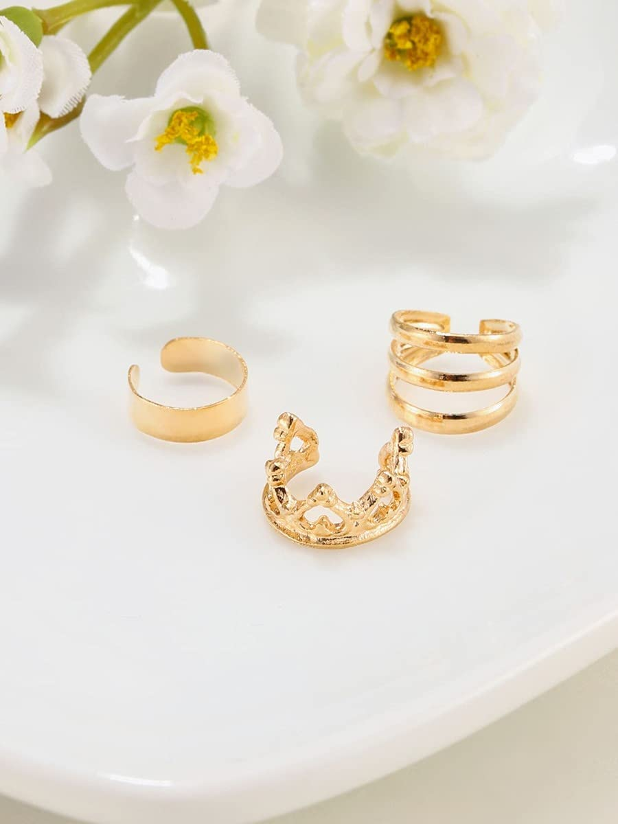 ZHCHL Hoop Earrings 3pcs Hollow Out Ear Cuff (Color : Gold)