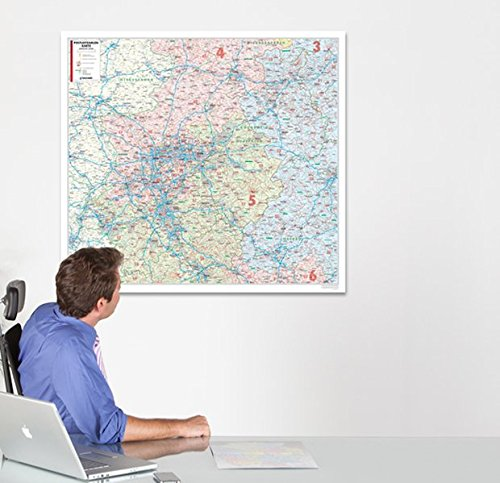 BACHER Postleitzahlenkarte Nordrhein-Westfalen, Maßstab 1:280 000, Papierkarte gerollt: Die Postleitzahlenkarte Nordrhein-Westfalen beinhaltet 1- und ... Ortsteile mit der Sterndarstellung.