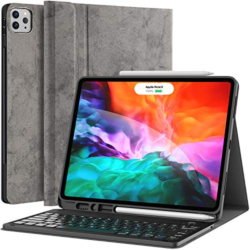 Keyboard Case for iPad Pro 12.9 2020 4th Generation, iPad Pro 12.9 Case with Keyboard 3rd Generation 2018 - Wireless Detachable - with Pencil Holder - Stand Cover - iPad Pro 12.9 inch Keyboard, Gray