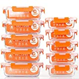 [10-Pack] Glass Food Storage Containers - Food Prep Containers with Lids - Microwave, Oven, Freezer and Dishwasher Safe
