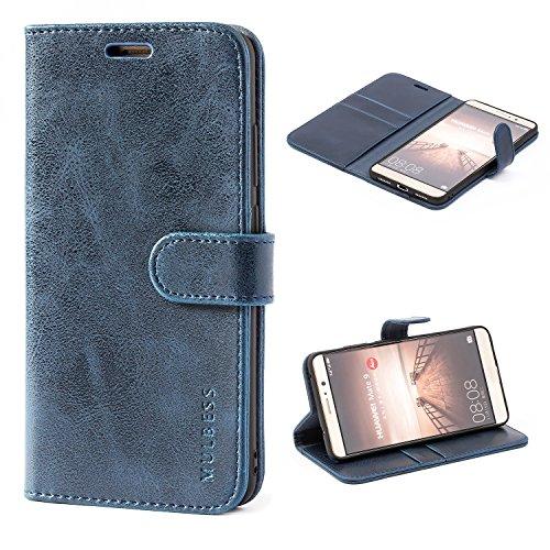 Mulbess Handyhülle für Huawei Mate 9 Hülle Leder, Huawei Mate 9 Handy Hüllen, Vintage Flip Handytasche Schutzhülle für Huawei Mate 9 Hülle, Navy Blau