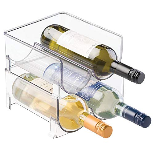 mDesign Plastic Wine Rack Storage Organizer, 2 Bottles Each, 2 Pack - Clear