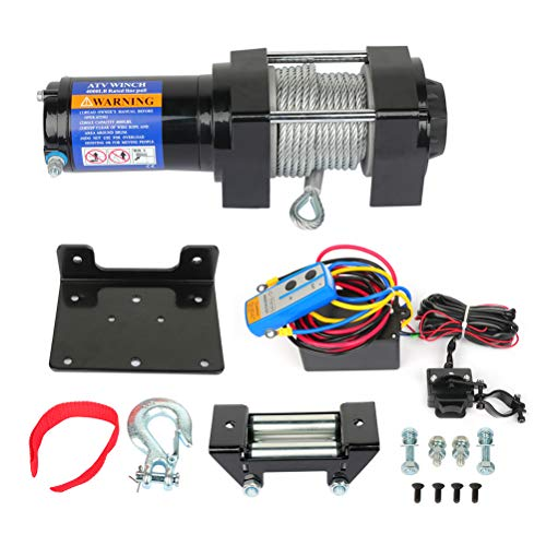 ROADFAR Heavy Duty 4000 lb Steel Cable Rope ATV UTV Off-Road Winch with 1pcs Remote Control and 4-Way Roller Fairlead,Black