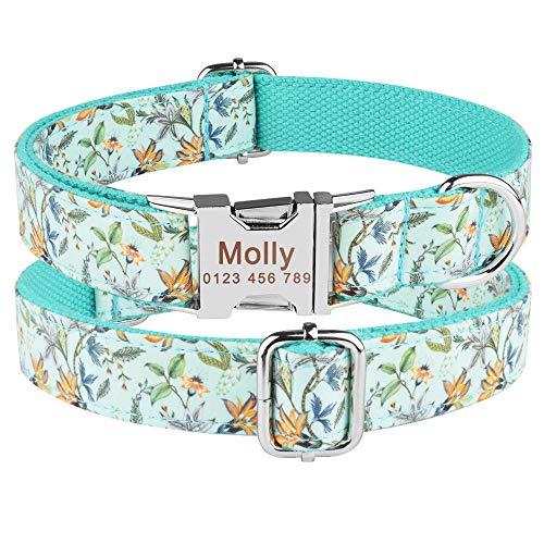 Cachorro Mediano Grande Unisex Collar para Perros Collar Personalizado para Perros Etiqueta de identificación con Nombre Grabado Personalizado Productos de Nailon Ajustables Collares para Perro