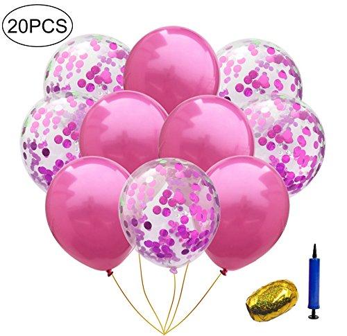 InnoBase Palloncini in Lattice Colorati Trasparenti Latex Confetti Balloons Palloncini Coriandoli Rosa con Nastro da Curling per Matrimonio Compleanno Baby Shower Laurea Cerimonia Party Decorazioni