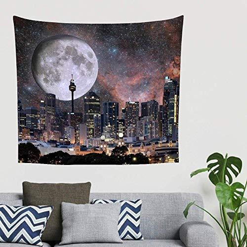 BOIPEEI Fantasía Rascacielos Ciudad Luna Estrellas Edificio Impresión Colgante de Pared Tapiz Manta de Pared Toallas de Playa de Moda Blanco 150 cm X 200 cm