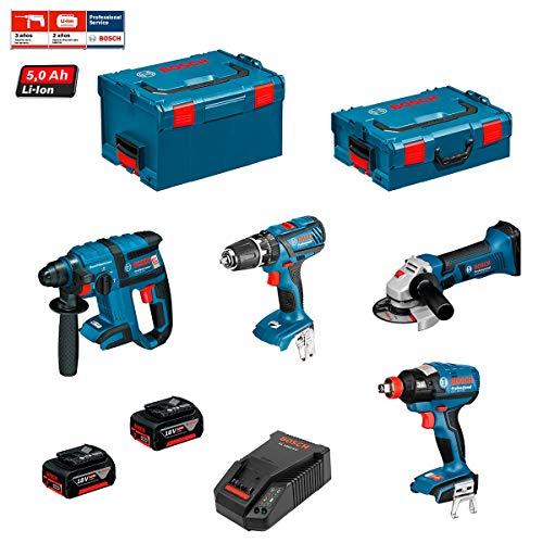 2 bater/ías x 5,0 Ah + malet/ín L-Boxx 136 +/malet/ín L-Boxx 238 +/Cargador AL1860CV GBH 18 V-EC Kit Bosch PSL3P3 GWS 18 V-LI GSB 18-2-LI/