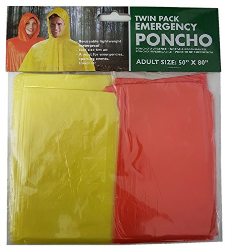 Twin Pack Emergency Poncho Taille Adulte 50\