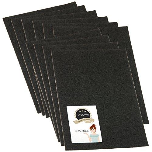 5 x selbstklebende Filzplatte | 200x300 mm | Schwarz | rechteckig | 3.5 mm starker Filzzuschnitt in Top-Qualität von Adsamm®