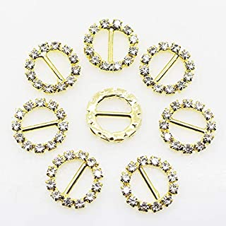 XINXI 30pcs 16mm Gold Round Rhinestone Ribbon Buckles Slider for DIY Wedding Invitation Card Decorative Hair Bow Clothes Shoes Jewelry Accessories