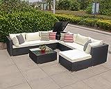 Enjoy Fit Polyrattan Gartenmöbel Sitzgruppe Lounge Sitzgarnitur inkl. Sessel Sofa Tisch Hocker/frei erweiterbar! (1 x Doppelsofa rechts)