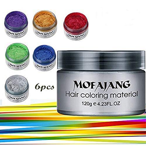 Symeas 6 Farben Unisex Multi-Color Temporäre Modellierung Mode DIY Haarfarbe Wachs Schlamm Haarfarbe Creme