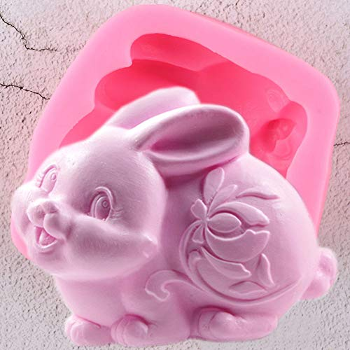 FOOJO Easter Rabbit Silicone Mold 3D Bunny Candle Resin Clay Molds Fondant Cake Decorating Tools Candy Chocolate Gumpaste Moulds