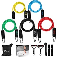 【Multifunctional & Easy to Use】The resistance bands have 5 colors standing for different resistance levels, yellow (10lb), blue (20lb), green (30lb), black (40lb), red (50lb). And you can also use them together to exercise at a level up to 150lb. No ...