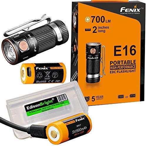 2 wiederaufladbare Batterien: Fenix E16 700 Lumen CREE LED EDC/Schlüsselanhänger, 2 x Fenix Batterien und EdisonBright Akku-Tragetasche.