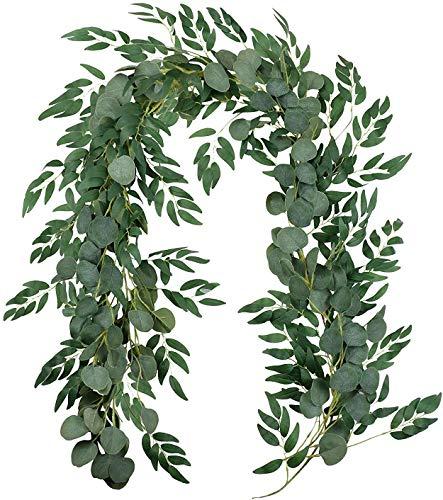 XIABAN Künstliche Pflanze Faux Silberdollar Eukalyptus und Willow Vines Zweige Blätter Garland String Hochzeit Arch Swag Hintergrund Garland Türen Grün Garland Tischläufer Pflanze