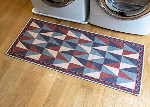 Benissimo Laundry Room Rug, Non Skid Rubber Area Rugs, Cotton, Durable, Machine Washable, Runner Floor Mat for Washroom, Bathroom, Mudroom, Kitchen Decor, 24x56-TRIA