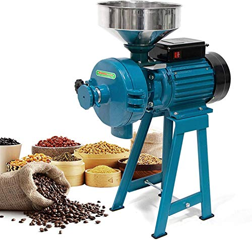 Grain Mills, 3000W Wet Dry Cereals Grinder Electric Grain Grinder Corn Mill Heavy Duty 110V Commercial Grain Grinder Machine Rice Corn Grain Coffee Wheat Feed Mill Flour Mill with Funnel (Upgraded 3000W)
