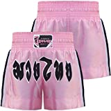 Farabi Muay Thai Shorts Kickboxing Pink Boxing Trunks Kids to Adult (S)