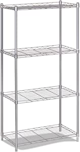 4-Tier Wire Storage Rack Organizer Shelving Unit  Metal Free Stand Shelf for Laundry Room  Living Room  Kitchen  Garage  Bathroom Silver Gray