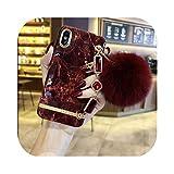 高級大理石3D光沢のある宝石ブレスレットヘアボール高品質シリコーンカバーFOR iPhone MAX XS XR 6 7 8プラスX電話ケース-Beige-FOR iPhone X