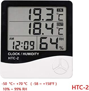 LCD Digital Alarm Clock Temperature Hygrometer HTC-1 HTC-2 Indoor And Outdoor Hygrometer Thermometer Memory Weather Station (Size : HTC-2)