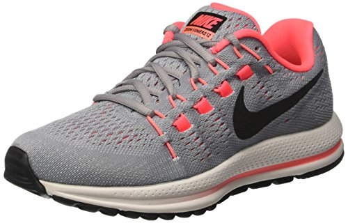 Nike W Air Zoom Vomero 12 (W), Zapatillas de Trail Running Mujer, Gris (Wolf Grey/Black-Pure Platinum-Hot Punch), 42 EU