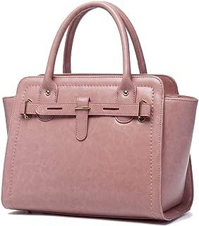 ETH Simple Multi-Function Large Capacity Shoulder Bag Shoulder Slung Leather Handbag Permanent (Color : Pink)