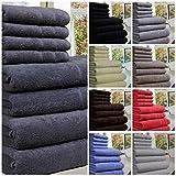 Toalla de lujo 100% de algodón egipcio, 8 piezas de 550 g/m² cada una en tamaño XL, algodón, Rojo, 8 Pieces Set