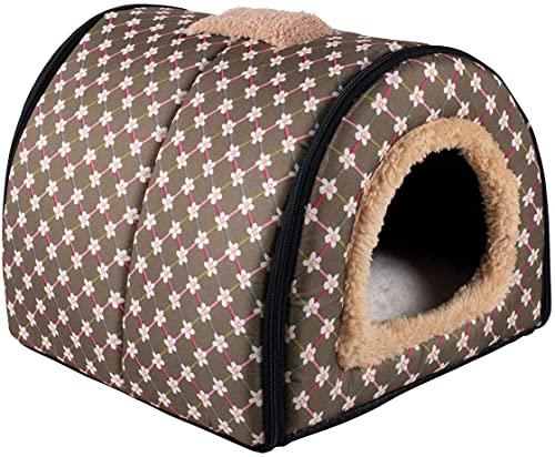 N/D Dololoo - Cama para gatos o gatos, iglú, nido de cueva de gato para gatos y gatos autocalentables 2 en 1 para casa cueva plegable (35 x 30 x 28 cm, con diseño de oliva)
