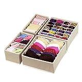 Magicfly Kit de 4 Boîte de Rangement Tiroir Organisateur Séparateur Tiroir pour Chaussettes sous-vêtements Soutien-Gorges Cravates (Gris)
