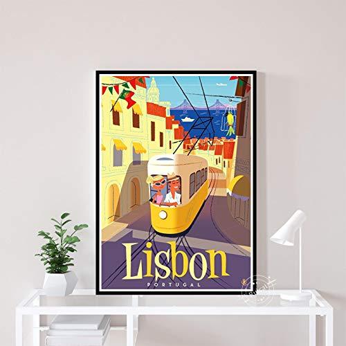 Carteles De Paisaje De Ciudades De Viaje Vintage De Lisboa, Lienzo Impreso En HD, Pintura Artística, Cuadro De Pared para Sala De Estar A1092 (50X70Cm) Sin Marco