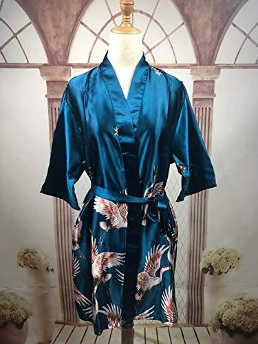 IAMZHL Mujeres Satén de Seda Corto Boda Novia Dama de Honor Bata Kimono Bata Feminino Bata de baño Gran tamaño Peignoir Femme Albornoz Sexy-a53-XXXL