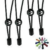 CLEVER LACES - Cordones Elásticos con Sistema No-Tie - Ideal para Deportes, Triatlón y tiempo libre - Seguro, Comodo y Rápido Cordones Reflectantes para Niños y Adultos (Deep Black / Deep Black)