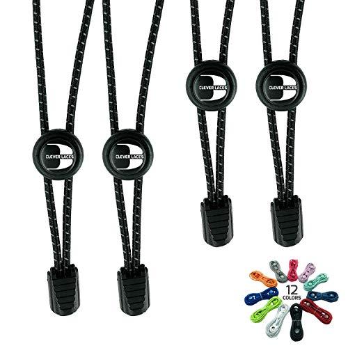 BERTONY Clever Laces #1 Running Elastische Schnürsenkel mit Schnellverschluss, Runde Reflektierende Gummi Schuhbänder, Kinder & Erwachsene, Deep Black / Deep Black