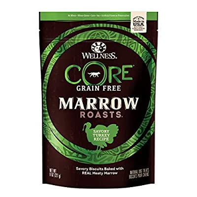 Wellness Natural Pet Food 88227 Core Marrow Roasts Natural Grain Free Dog Treats, Turkey, 8-Ounce Bag