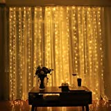 Honche 300L Led Curtain String Lights USB with Remote for Bedroom Wedding (Warm White)